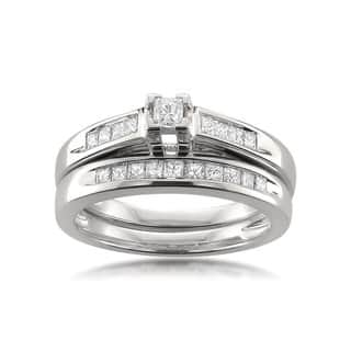 Montebello 14k White Gold 1/2ct TDW Certified Princess-cut Diamond Bridal Ring Set H-I, I1-I2)|https://ak1.ostkcdn.com/images/products/11401298/P18367190.jpg?impolicy=medium