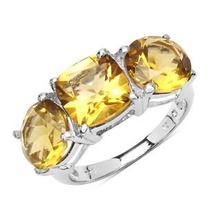 Olivia Leone 5.80 Carat Genuine Citrine .925 Sterling Silver Ring