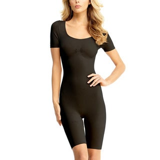 Memoi Women's Short Sleeve Bodysuit with Thigh Shaper