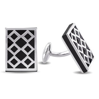 V1969 ITALIA Black Onyx Cufflinks in Sterling Silver