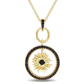 V1969 ITALIA Black Sapphire Sunflower Necklace in 18k Yellow Gold Plated Sterling Silver