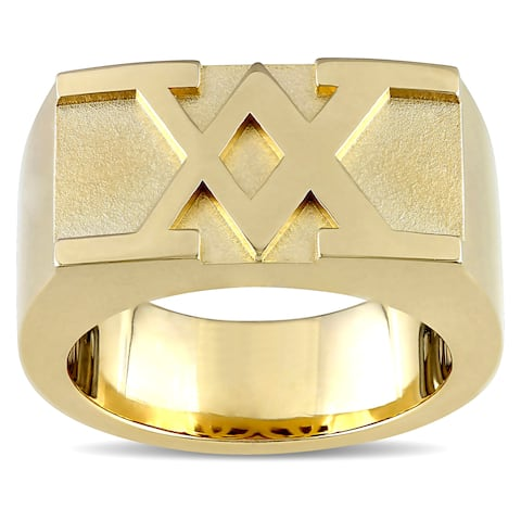 Miadora Men's Insignia Ring In Yellow Plated Sterling Silver