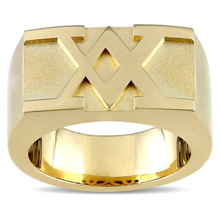 V1969 ITALIA Men's Insignia Ring in 18k Yellow Gold Plated Sterling Silver
