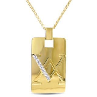 V1969 ITALIA Men's White Sapphire Insignia Necklace in 18k Yellow Gold Plated Sterling Silver