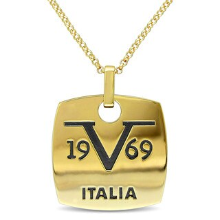 V1969 Italia Men'S Logo Mark Necklace In Yellow Gold Plated Sterling Silver