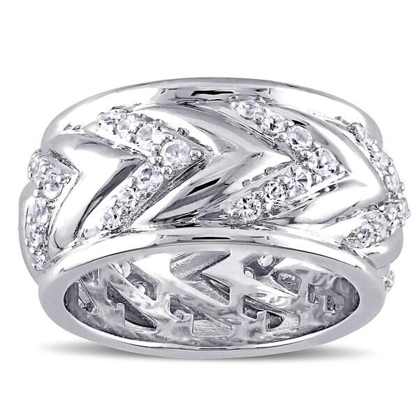 Miadora Men's White Sapphire Zig Zag Ring in Sterling Silver