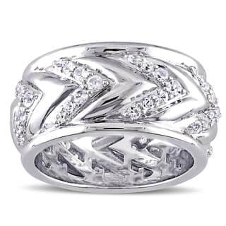 V1969 ITALIA Men's White Sapphire Zig Zag Ring in Sterling Silver|https://ak1.ostkcdn.com/images/products/11403458/P18368971.jpg?impolicy=medium