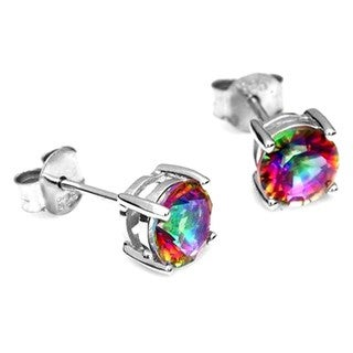 Classic Mystic Rainbow Topaz Stud Earrings