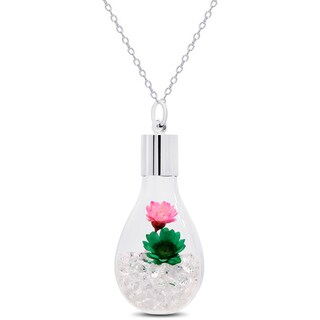 Dolce Giavonna Silvertone Crystal and Flower Filled Glass Jar Necklace