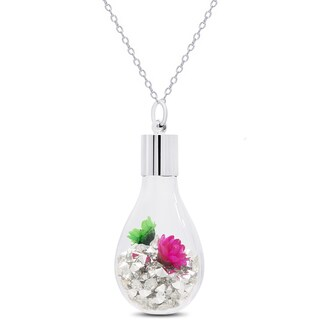 Dolce Giavonna Silvertone Crystal and Flower Filled Glass Jar Necklace (3 options available)