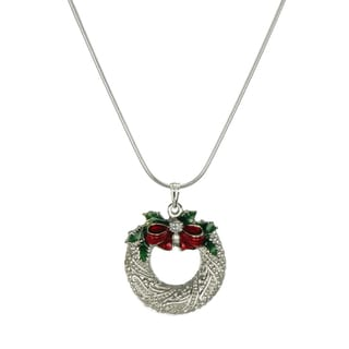 Jewelry by Dawn Holiday Pewter Wreath Sterling Silver Snake Chain Necklace