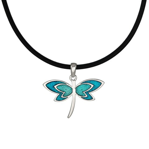 Handmade Jewelry by Dawn Turquoise Blue Dragonfly Leather Cord Necklace (USA)
