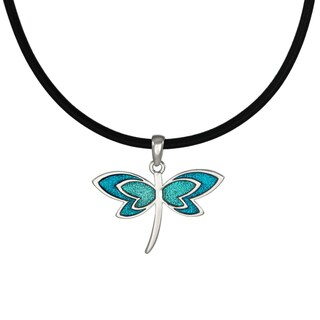 Handmade Jewelry by Dawn Turquoise Blue Dragonfly Greek Leather Cord Necklace (USA)