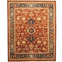 Herat Oriental Afghan Hand-knotted Tribal Vegetable Dye Oushak Wool Rug (7'6 x 9'6) - 7'6 x 9'6