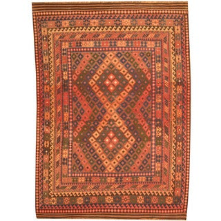 Herat Oriental Afghan Hand-woven Tribal Kilim Rust/ Brown Wool Rug (7'3 x 9'10)