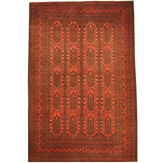 Herat Oriental Afghan Hand-knotted Tribal Balouchi Rust/ Navy Wool Rug (7'5 x 11')