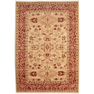 Herat Oriental Afghan Hand-knotted Tribal Oushak Wool Rug (6'3 x 8'9)