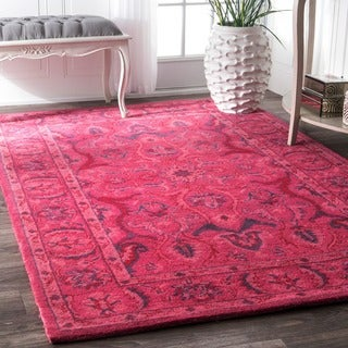 nuLOOM Handmade Persian Overdyed Pink Wool Rug (4' x 6')