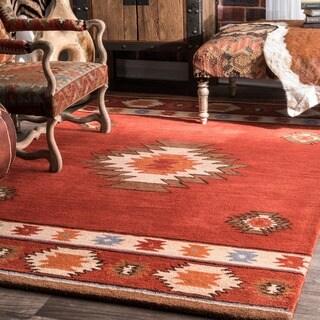 nuLOOM Hand-tufted Southwestern Wool Wine Rug (8' 6 x 11' 6)