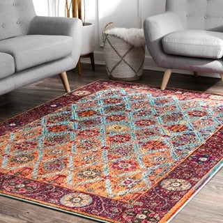 nuLOOM Distressed Traditional Trellis Floral Persian Multi Rug (7'10 x 11')