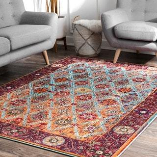 nuLOOM Multi Distressed Traditional Trellis Floral Persian Area Rug