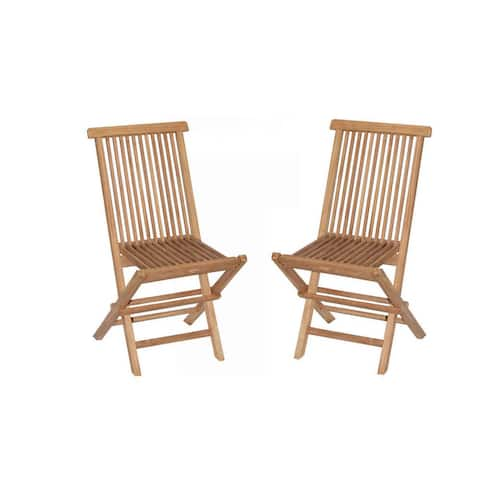 Handmade Vineyard Teak Folding Chairs (Set of 2) (Indonesia)