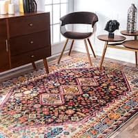 nuLoom Persian Traditional Distressed Flower Multicolor Rug - 7'10 x 11'