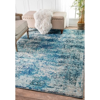 nuLOOM Traditional Vintage Distressed Blue Rug (7'10 x 11')