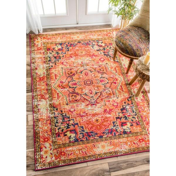 5x8 Hamadan Authentic Rugs Deals Direct Handmade Persian: NuLOOM Traditional Flower Medallion Orange Rug (5'3 X 7'7