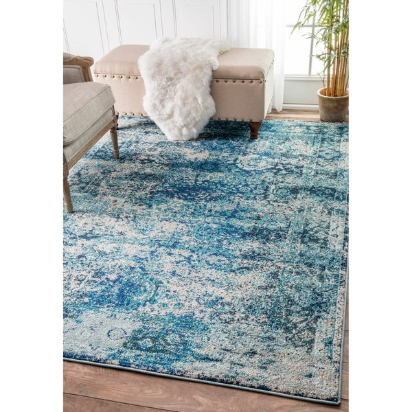 Nuloom Remade Distressed Overdyed Turquoise Area Rug: Shop NuLOOM Traditional Vintage Distressed Blue Rug