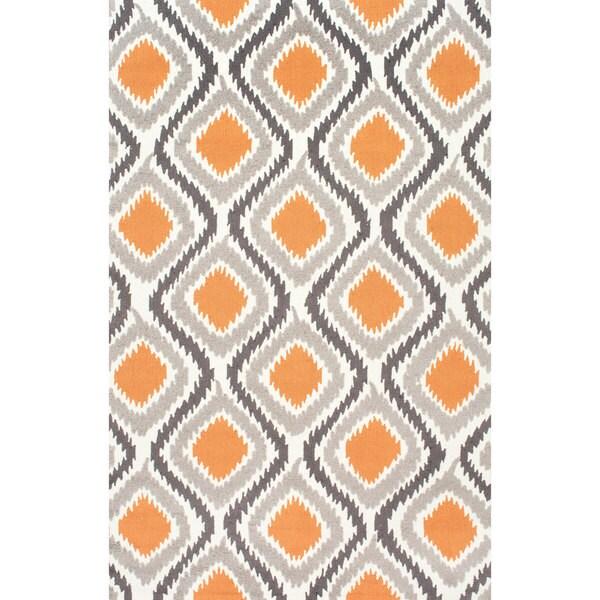 Nuloom Handmade Modern Ikat Trellis Orange Rug 6 X 9