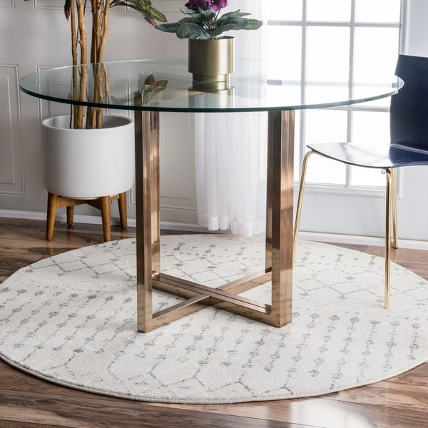 The Curated Nomad Ashbury Moroccan Trellis Ivory Rug - 7'10 Round