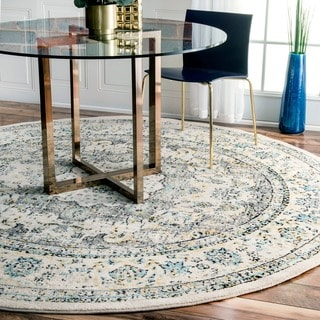 nuLOOM Traditional Persian Vintage Grey Rug (7'10 Round)