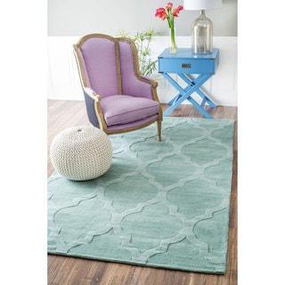 nuLOOM Handmade Abstract Raised Trellis Wool Moss Rug (8'6 x 11'6)