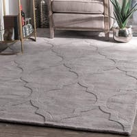 Oliver & James Starling Handmade Grey Wool Trellis Area Rug - 4' x 6'