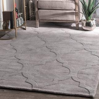 nuLOOM Handmade Abstract Raised Trellis Wool Grey Runner Rug (2'6 x 8')