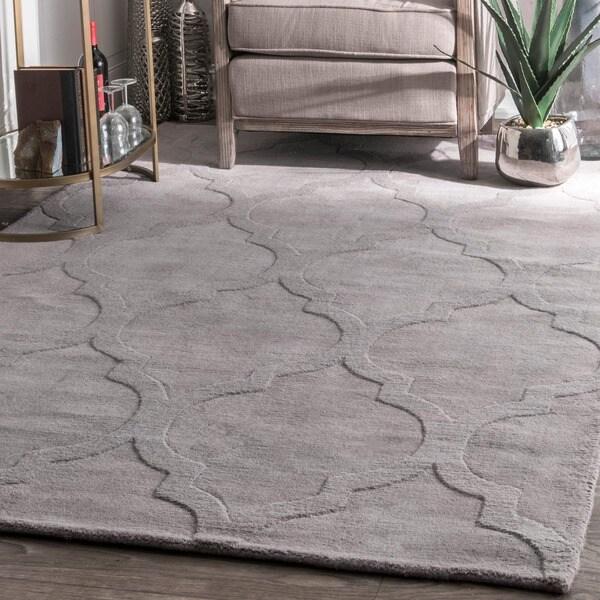 Nuloom Handmade Abstract Raised Trellis Wool Grey Runner