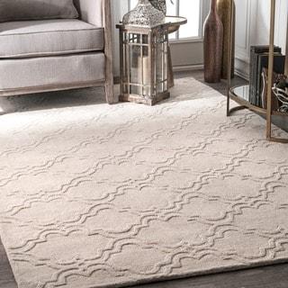 nuLOOM Handmade Modern Trellis Fancy Wool Cream Rug (4' x 6')