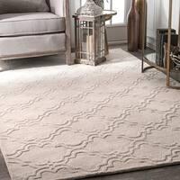 nuLOOM Handmade Modern Trellis Fancy Wool Cream Rug (9'6 x 13'6)