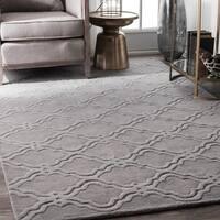 nuLOOM Handmade Modern Trellis Fancy Wool Grey Rug - 4' x 6'