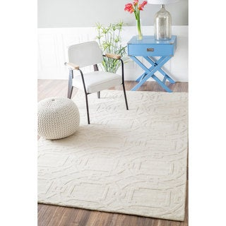 nuLOOM Handmade Abstract Trellis Wool Cream Rug (8'6 x 11'6)