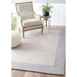 nuLOOM Handmade Solid Border Wool Grey Runner Rug (2'6 x 8')