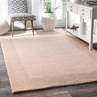 nuLOOM Handmade Solid Border Wool Beige Runner Rug (2'6 x 8')