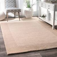 Carbon Loft Wilkins Handmade Solid Border Wool Beige Runner Area Rug - 2'6 x 8'