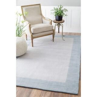 nuLOOM Handmade Solid Border Wool Sea Blue Runner Rug (2'6 x 8')