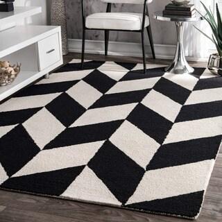 nuLOOM Handmade Mod Tiles Wool Black and White Rug (4' x 6')
