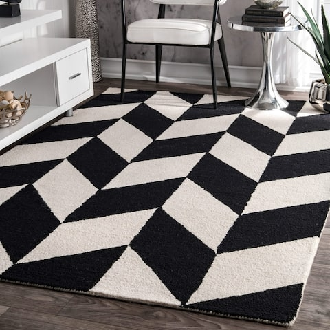 nuLOOM Black and White Handmade Mod Tiles Wool Area Rug