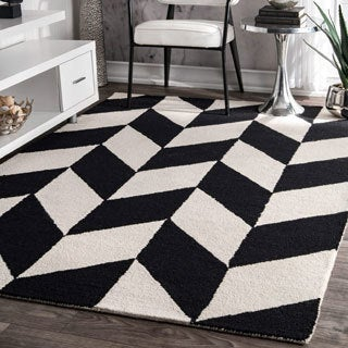 nuLOOM Handmade Mod Tiles Wool Black and White Runner Rug (2'6 x 8')