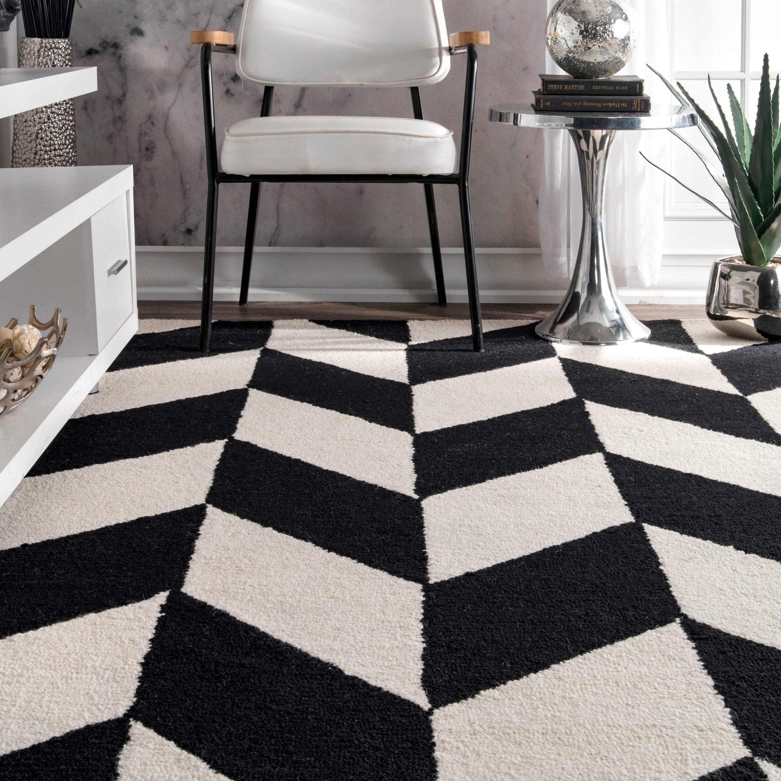 nuLOOM-Black-and-White-Handmade-Mod-Tiles-Wool-Area-Rug thumbnail 8
