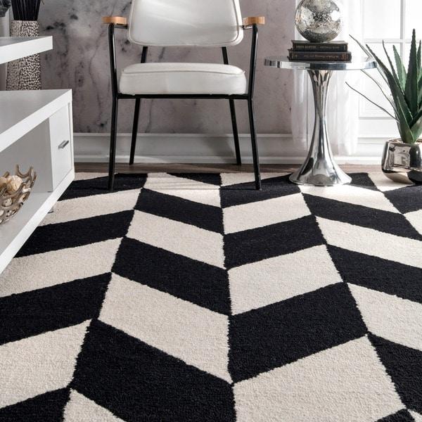 Nuloom Black And White Rug: NuLOOM Handmade Mod Tiles Wool Black And White Runner Rug